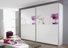 Schrank Soluno 271,0 cm Weiß Motiv Orchidee 8424. Buy now at https://www.moebel-wohnbar.de/schwebetuerenschrank-soluno-271-0-cm-alpinweiss-mit-motiv-orchidee-8424.html