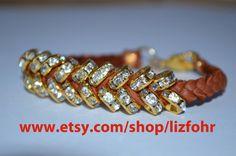 crystal rhinestone hex nut bracelet