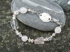 Silver bracelet with Rock crystal and Rose quartz, pearls and silver details from PMC silverclay