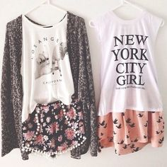 Patterned short/skirts with tees.