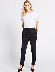Checked Drawstring Straight Leg Trousers | M&S