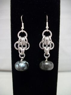 Blue Labradorite Chainmaille Earrings