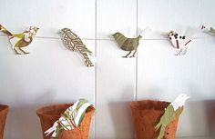 Bird Garland, 8 Feet Long, Bird Theme, Bird Party, Woodland Wedding, Woodland Fairies, Leaf Pages, EcoFriendly Party Decor