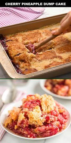 Cherry Pineapple Dump Cake, Pineapple Dessert Recipes, Cherry Desserts, Crushed Pineapple Cake, Dump Cake Recipes, Baking Recipes, Dump Cakes, Cherry Pie Cake Recipe, Cake Mix And Pie Filling Recipe