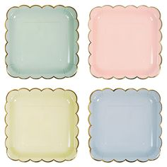Gorgeous pastel coloured square plates by Meri Meri. These plates have a pretty gold foil scalloped edge. Each set contains plates in pastel shades of pink, blue, green and yellow. 8 large plates per set Large Plates, Square Plates, Blue Plates, Pastell Party, Bleu Pastel, Pastel Colors, Shades Of Peach, Pastel Shades, Paper Plates