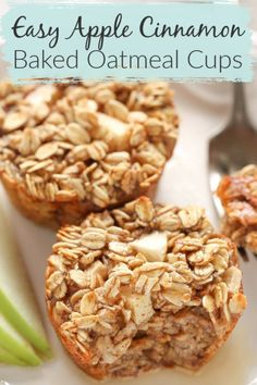 Have you ever tried baked oatmeal? It has a soft, chewy texture and it tastes absolutely delicious! These Apple Cinnamon Baked Oatmeal Cups have an amazing flavor. They are a healthier choice for an on-the-go breakfast. Apple Oatmeal Muffins, Apple Cinnamon Oatmeal, Baked Oatmeal Cups, Baked Oatmeal Recipes, Healthy Baked Oatmeal, Recipe With Oatmeal, Baked Apples Healthy, Oats Recipes, Smoothie Recipes