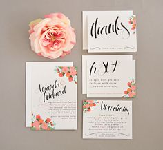 modern floral via 8 Whimsical Wedding Invitations