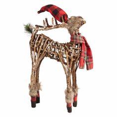 Christmas Festival New Year Lighted Reindeer with Plaid Scarf Xmas Decor