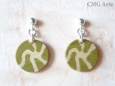 Silver & Wood Inlay Earrings  Marquetry  Jewelry Design by CMGArte