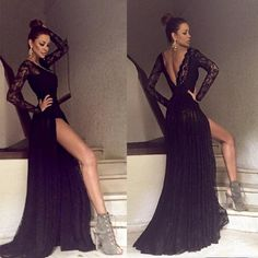 Black Long Sleeves Lace Side Split Sexy V Back Long Prom Dress, PM0003