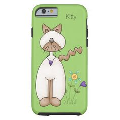 Colorful Cartoon Kitty and Flowers iPhone 6 Case