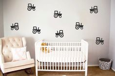 50 Tractor Wall Decals Construction Vechile Boy by CutOutArts
