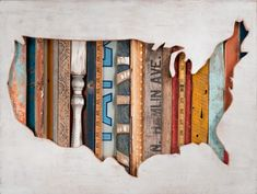 Dolan Geiman - map of the United States inlaid with all matter of objects including bedposts and saw blades.
