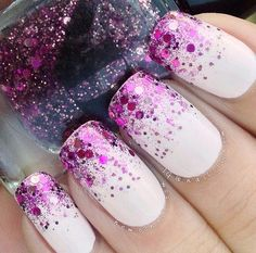 Installation of acrylic or gel nails - My Nails Fancy Nails, Trendy Nails, Love Nails, My Nails, Purple Nails, White Nails, Glitter Nails, Sparkly Nails, Purple Glitter