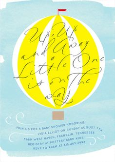 Up Up and Away Baby Shower Invitations. Gender neutral or customize with your own color to match your theme.