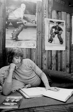 """A young Wayne Gretzky in his room at the Bodner family's house in Sault Ste. Marie."""