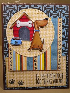 In the Pink, Designs by Cathryn My Favorite Things stamps You Make Me Wag My Tail Dog card