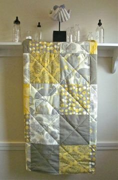 Modern Baby Quilt - Optic Blossom - with Flannel or Minky Back - Amy Butler - Gender Neutral Baby Quilt in Gray, Mustard Yellow, and Ivory on Etsy, $98.00