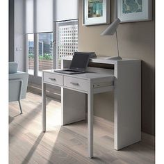 Mesa consola escritorio, mesa extensible, mesa para despacho, Blanco Brillo