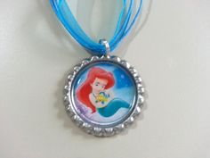 Baby Ariel Bottle Cap Necklace by KristyJsCreations on Etsy, $5.99