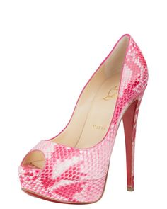 My Lady Peep in Rose Matador Python. They are TDF.... Probably the single most beautiful shoe I have ever seen. A one-of-a-kind Loubie and the most precarious to walk in. I call these the ultimate Barbie heels (sigh).