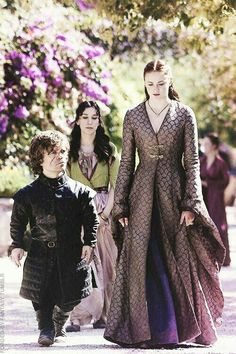 Peter Dinklage as Tyrion Lannister, Sophie Turner as Sansa Stark in Game of Thrones