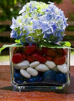 Patriotic centerpiece that Rocks (spray painted stones could be used for any decorating!!!)