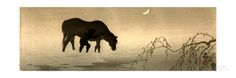 Farmer and Horse in the Water Giclee Print by Koson Ohara - AllPosters.co.uk