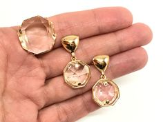 Clear Crystal in 18k Gold Filled Earrings and Ring Set by EloisaBarreto on Etsy