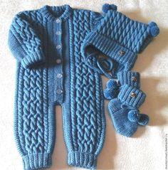 Купить Комплект аранами с мишками - синий, однотонный, комплект вязаный, комплект для малыша, комбинезон для мальчика