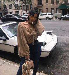 Khaki Ruffle Open Back Lantern Sleeve Off Shoulder Oversized Pullover Sweater Fashion Killa, Look Fashion, Fashion Outfits, Womens Fashion, Fashion Trends, Feminine Fashion, Diy Fashion, Fashion Ideas, Female Fashion