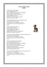 English worksheet: A horse with no name- song!