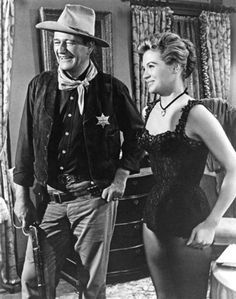 John Wayne and Angie Dickinson filming Rio Bravo (1959)