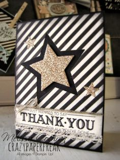 Thank you card created by Melissa @ crazypaperfreak.blogspot.com Let Your Hair Down, Typset, Venetian Crochet Trim, Stars Thinlits, Linen Thread, Gold Glimmer