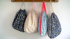 A step-by-step video for making these cute drawstring napsacks!
