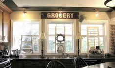 """Love these windows for over our sink - this site has an awesome tutorial on how to make the """"GROCERY"""" sign, too!"""