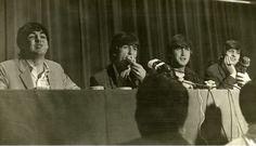 September 11, 1964 Paul McCartney, George Harrison, John Lennon and Ringo Starr attend a press conference at George Washington Hotel in Jacksonville, Florida prior to their Gator Bowl show. (Vern Barchard/State Archives of Florida)