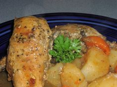 Beer-Braised Rabbit (Or Chicken) for the Crock Pot . Tasty, tangy recipe for rabbit or chicken.