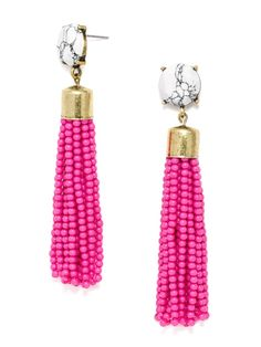 """These funky beaded tassels are the perfect shoulder-skimming accessory to make an apologetically bold statement. Features an opaque gem embellishment. Each gem is unique so appearance may vary. Earring is lightweight with a length of 3.6""""."""