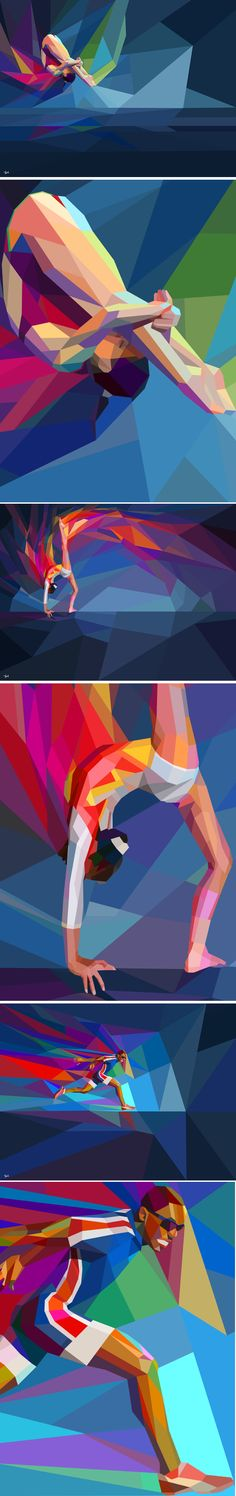 Colorful Geometric Illustrations of London 2012 Olympics. I'm totally creating a family portrait in geometric art Sketch Manga, Pop Art, Polygon Art, Arte Sketchbook, Art Abstrait, Sports Art, Cubism, Grafik Design, Geometric Art