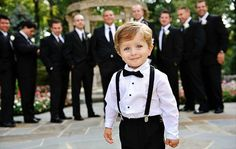 Cute #wedding bow ties and suspenders for the Ring Bearer!  Bow tie + suspender combination by The Baxter Boy; photo by Be Creative Photography.