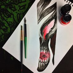 Свежий проект для рукава или ногава (простой визуальный пример, который служит основой для рисунка на теле) Ждёт своего хозяина 😈   #carnivane #moscow #moscowtattoo #gettattoo #sketch #designtattoo #design #skull #darkart #ink #inked #tattoo #tattoos #tat2 #ta2 #art #painting #drawing #pen #brushpen #москва #москватату #тату #татуха #татумск