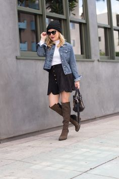 Suede Skirt. Over the Knee Boots. - http://thehuntercollector.com/suede-skirt-over-the-knee-boots/