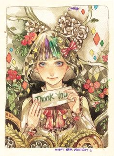 thanks for the birthday wishes and happy new year ♥ -watercolor-