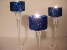 Navy and gold wedding centerpiece, coukd embelish the base with gold glitter glass paint or gold diamonte