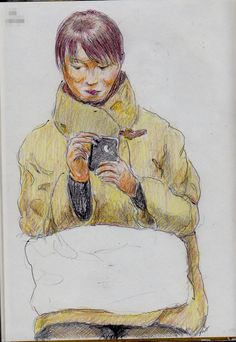 A woman I saw in the commuter train. 『襟の高い服』