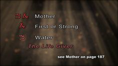 """Mother in Hebrew means strong, or first water = """"The Life Giver"""" - Hebrew picture language ~ what an awesome God we serve! The Giver of all life, bestows such a blessed name on mothers."""