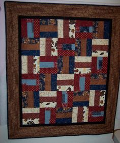 """Image detail for -Western Theme Quilt - 46"""" x 40"""" - Coordinating prints on front with a ..."""