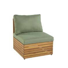 Garden Treasures Hunter Woods Balau Wood Patio Chair With Solid Green  Cushions At Lowes