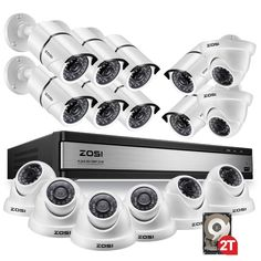 ZOSI Video Surveillance System with Night Vision. Wireless Camera System, Wireless Home Security Systems, Security Alarm, Best Home Security, Security Cameras For Home, House Security, Dome Camera, Home Defense, Surveillance System
